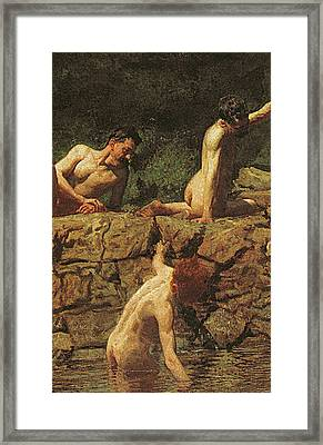 Swimming Hole Framed Print by Thomas Cowperthwait Eakins