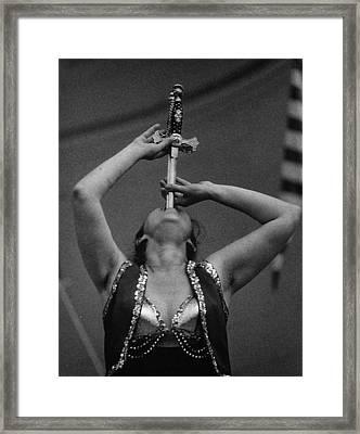 Sword Swallower Carny Performer Framed Print by Robert Ullmann