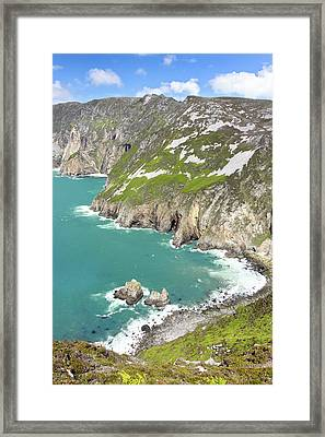 Tall Sea Cliffs Of Slieve League Donegal Ireland Framed Print by Pierre Leclerc Photography