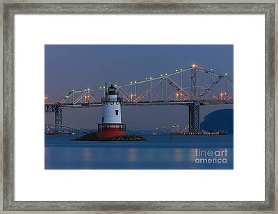 Tarrytown Lighthouse And Tappan Zee Bridge At Twilight Framed Print by Clarence Holmes