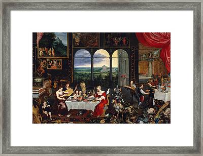 Taste, Hearing And Touch Framed Print by Jan Brueghel the Elder