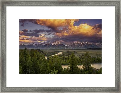 Teton Cloudburst Framed Print by Andrew Soundarajan