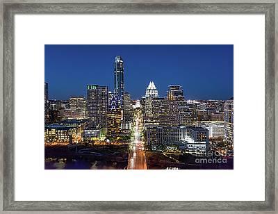 Texas Capital Skyline Framed Print by Tod and Cynthia Grubbs