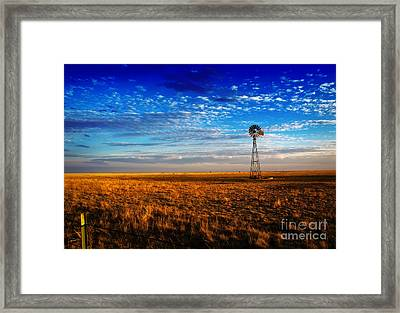Texas Plains Windmill Framed Print by Fred Lassmann