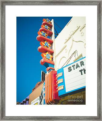 Texas Theatre Framed Print by Sonja Quintero