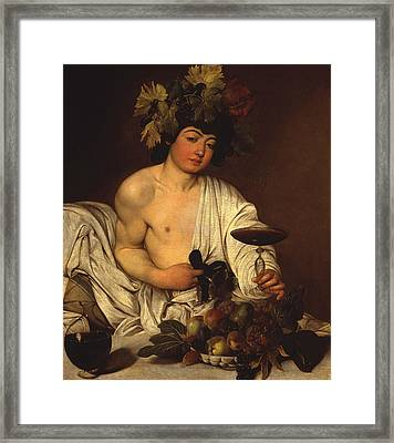 The Adolescent Bacchus Framed Print by Caravaggio
