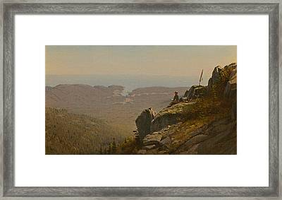 The Artist Sketching At Mount Desert Maine Framed Print by Mountain Dreams