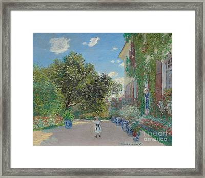The Artist's House At Argenteuil Framed Print by Claude Monet