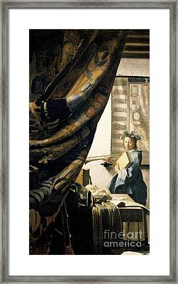 The Artist's Studio Framed Print by Jan Vermeer