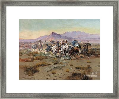 The Attack Framed Print by Charles Marion Russell