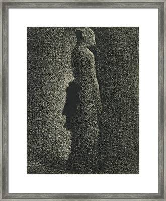 The Black Bow Framed Print by Georges-Pierre Seurat