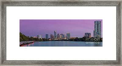 The Boardwalk Trail At Lady Bird Lake - City Of Austin Skyline - Texas Hill Country Framed Print by Silvio Ligutti