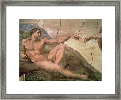 The Creation Of Adam Framed Print by Michelangelo Buonarroti