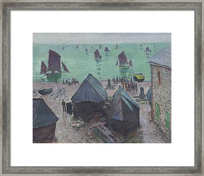 The Departure Of The Boats  Etretat Framed Print by Claude Monet