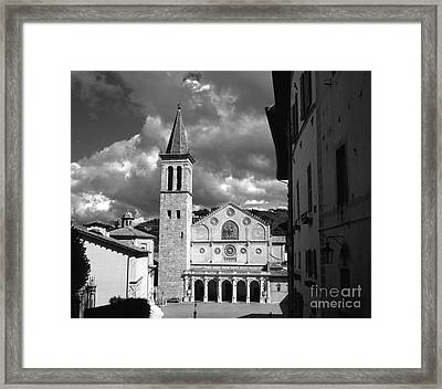 The Facade Of The Duomo With Mosaic And Eight Rose Windows And The Campanile Spoleto Umbria Italy Framed Print by Michael Walters