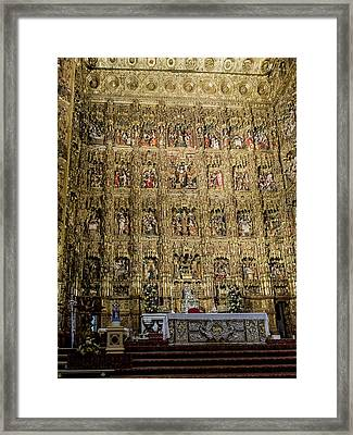 The Golden Retablo Mayor - Cathedral Of Seville - Seville Spain Framed Print by Jon Berghoff