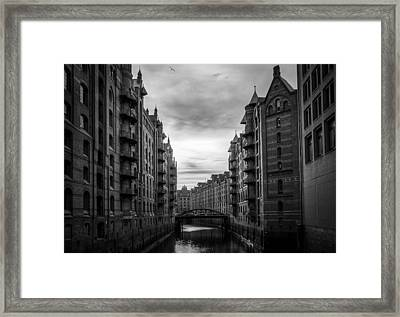 The Hamburg Warehouse District At Sunset Framed Print by Mountain Dreams