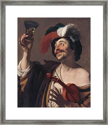 The Happy Violinist Framed Print by Gerard van Honthorst