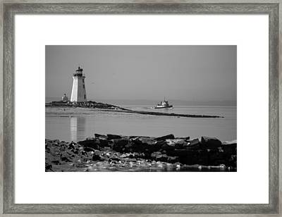 Winters Coast Bw Framed Print by Karol Livote