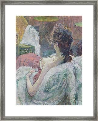 The Model Resting Framed Print by Henri de Toulouse-Lautrec