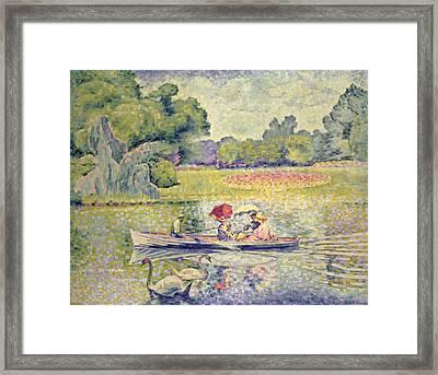 The Promenade In The Bois De Boulogne Framed Print by Henri-Edmond Cross