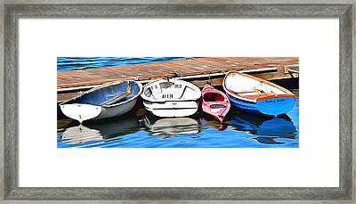The Red Kayak Morro Bay California Painting Framed Print by Barbara Snyder