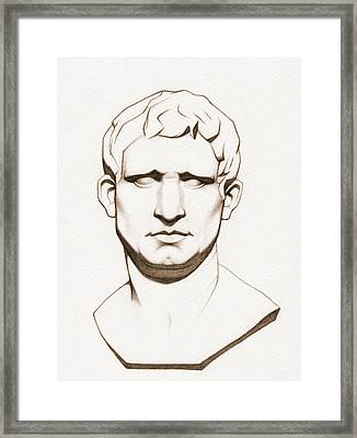The Roman General - Marcus Vipsanius Agrippa - In Sepia Framed Print by Stevie the floating artist