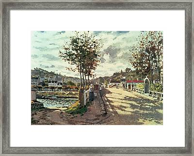 The Seine At Bougival Framed Print by Claude Monet