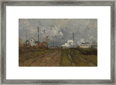 The Train Is Arriving Framed Print by Frits Thaulow