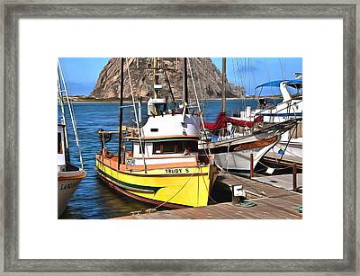 The Trudy S Morro Bay California Painting Framed Print by Barbara Snyder
