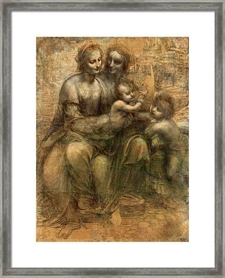 The Virgin And Child With Saint Anne And Saint John The Baptist Framed Print by Leonardo da Vinci