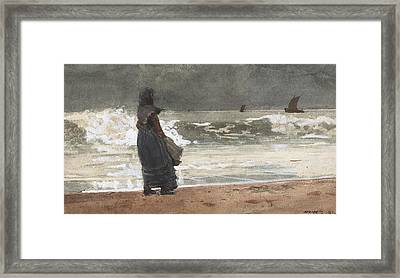 The Watcher, Tynemouth Framed Print by Winslow Homer