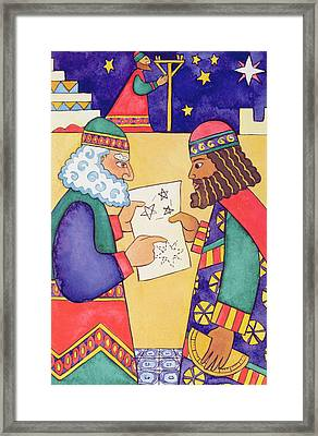 The Wise Men Looking For The Star Of Bethlehem Framed Print by Cathy Baxter