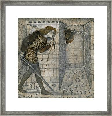 Theseus And The Minotaur In The Labyrinth Framed Print by Edward Burne-Jones