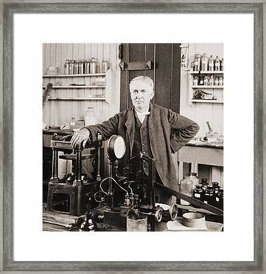 Thomas A. Edison 1847-1931, In His West Framed Print by Everett