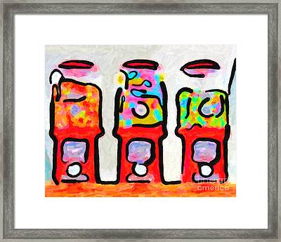 Three Candy Machines Framed Print by Wingsdomain Art and Photography