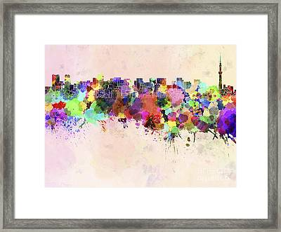 Tokyo Skyline In Watercolor Background Framed Print by Pablo Romero