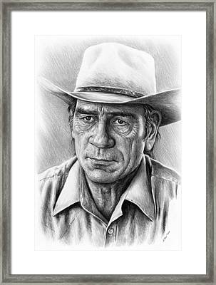 Tommy Lee Jones Framed Print by Andrew Read