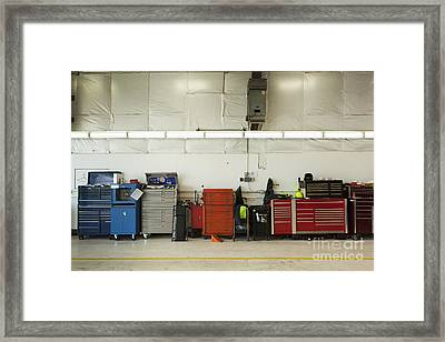 Tool Chests In An Automobile Repair Shop Framed Print by Don Mason