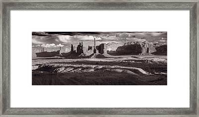 Totem Pole And Yei Bi Chei Monument Valley Framed Print by Steve Gadomski