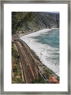 Trainstation In Manarola Italy Framed Print by Patricia Hofmeester