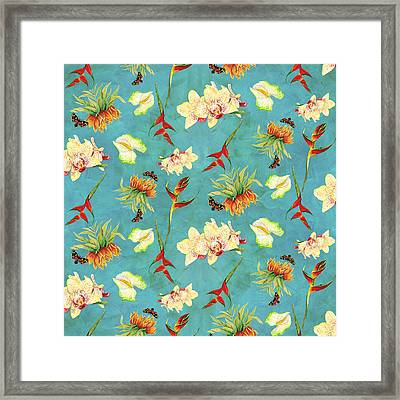 Tropical Island Floral Half Drop Pattern Framed Print by Audrey Jeanne Roberts