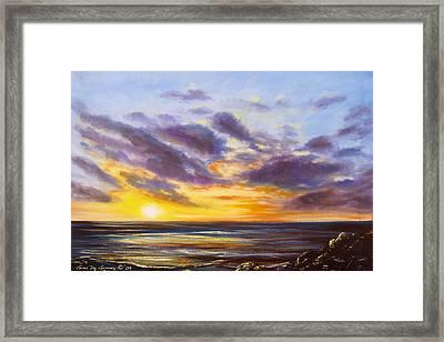 Tropical Sunset Framed Print by Gina De Gorna