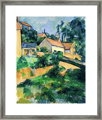 Turning Road At Montgeroult Framed Print by Paul Cezanne