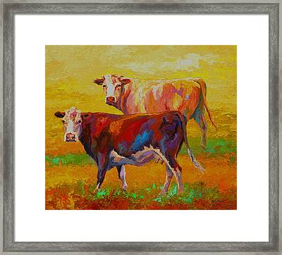 Two Cows Framed Print by Marion Rose