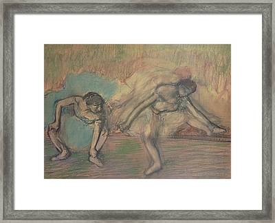 Two Dancers Resting Framed Print by Edgar Degas