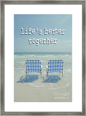 Two Empty Beach Chairs Framed Print by Edward Fielding