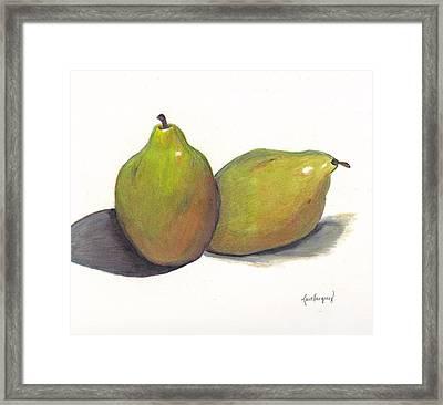 Two Green Pears Framed Print by Lea Velasquez