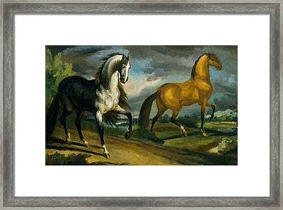 Two Horses Framed Print by Theodore Gericault