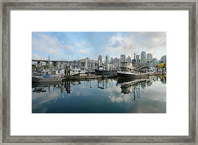 Vancouver Cityscape Framed Print by Fraida Gutovich